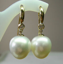 14.8mm!! SOUTH SEA PEARLS UNTREATED +DIAMONDS +18ct SOLID Y GOLD EARRINGS +CERT