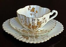 "`ANTIQUE SHELLEY WILEMAN PORCELAIN TEA TRIO, ALEXANDRA SHAPE, GOLD ""ASTER SPRAYS"
