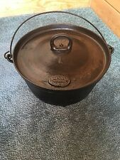 Vintage D.R. Sperry No.1 Cast Iron 3 Short Legs Dutch Oven w/Bail Handle and Lid