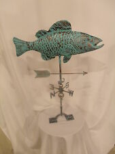 LARGE Handcrafted 3D 3Dimensional Fish COY Carp Weathervane Copper Patina Finish