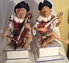 Pair Large Italian Pottery Monkey Musicians Figurines