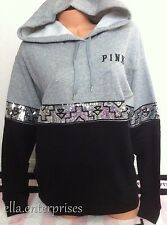 Victoria's Secret Pink Aztec Silver Sequin Bling Gray Black Pullover Hoodie - XS