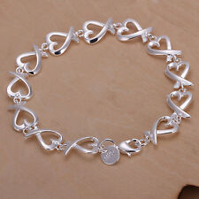 New Women 925 Sterling Silver Plated Heart String Charm Chain Bracelet Bangle