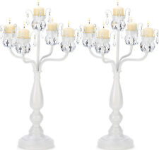 "2 Crystal Candelabra Large White Candleholder Wedding Centerpieces 17"" Tall"