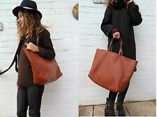 NEW ZARA SOFT TOTE LARGE SHOPPER BAG Brown Tan Faux Leather With Pouch 4641/104