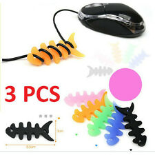 3 x Silicone Rubber Fish Bone Earphone Headphone Cord Cable Wrap Winder Tie