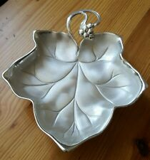 Vintage Silverplate Leaf Bowl Ikora WMF Footed Grapes Germany Candy Popurri 1970