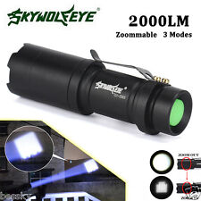Super Bright Light Zoomable 2000LM CREE Q5 14500 3 Modes LED Flashlight Torch