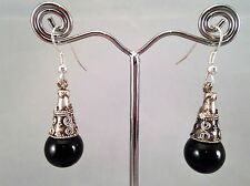 Handmade Black Bead Conical Spacer Dangle Earrings Xmas Gift Hen Party Club