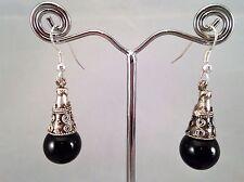 Perla hecho a mano Negro Cónico Espaciador Colgantes Pendientes Regalo De Navidad Hen Fiesta Discoteca