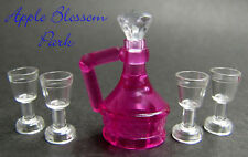 NEW Lego Belville Trans PINK JUG Friends Food Pitcher w/4 Goblet Wine Glass Cups
