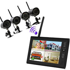 "Wireless 7"" LCD 4CH Quad Home Security System DVR Motion Night Vision Camera US"