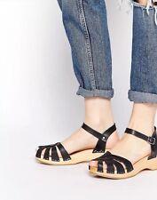Swedish Hasbeens Debutant Platform Sandals black Leather Size 39-New
