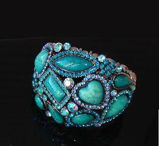 Blu verde Mare bracciale Braccialetto topazio pietre cristalli Naturale ,donna