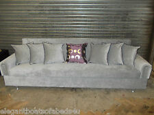 SILVER GREY SOFA BED 5 SEATER STORAGE 230CM CLICK CLACK ASSEMBLED SLIM ARMS NEW
