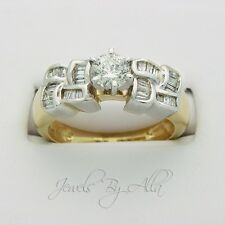 Ladies Womens 14k Yellow Gold Round Cut Diamond Engagement Ring Women 1.0ct
