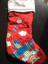 NEW Pottery Barn Airplane Christmas Stocking Monogramed ~ TIMOTHY  ~ NWOT