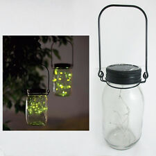 Mason Jar Solar Lid Light Up String Hanging Lantern 9 LED Powered Canning Decor