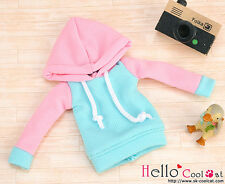 ☆╮Cool Cat╭☆212.【NP-B21】Blythe/Pullip Hoodie Top(Long Sleeves)# Pink Hood+Aqua