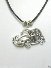 "VW BEETLE HERBIE CAR NECKLACE/PENDANT & 18"" WAXED COTTON CORD/HANDMADE JEWELLERY"