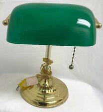 "Vintage Green Glass Shade Lawyer Banker Library Lamp Light Gold Brass 13"" Tall"