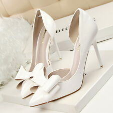Women's Ladies High Heeled Pointed-toe Stiletto Shoes Pumps Bow-knot Hollow Out