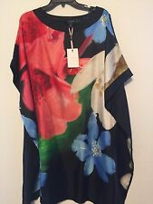 Ted Baker Stelli Forget Me Not Loose Mulberry Silk Tunic Dres US 8 UK 3 NWT