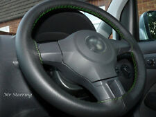 REAL BLACK LEATHER STEERING WHEEL COVER FOR DODGE RAM 4 2500 GREEN STITCH 09-15