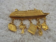 JJ Goldtone Ship Travel Vacation Charm Pin, Palm Tree, Camera Suitcase + (A30)