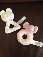 George Early Days X2 Pink Bunny Elephant Baby Rattle Ring Soft Toy Grabber Asda