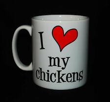 NEW I LOVE HEART MY CHICKENS MUG CUP GIFT CHICKEN REARING COOP BREEDER KEEPER