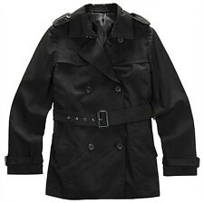 NII Womens Casual Classic Style Belted Trench Coat Jacket Black Size S NWT