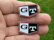 ~ GT SMALL CAR BADGE PAIR Door Trim Emblems suit Datsun C210 Nissan Skyline C110