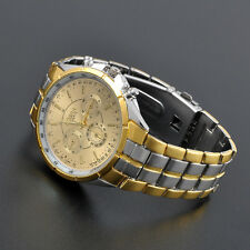 Luxury Mens Watch Date Gold Dial Stainless Steel Analog Quartz Wrist Watches