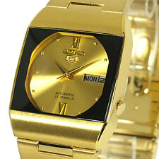 SEIKO 5 AUTOMATIC CASUAL DRESS SQUARE GOLD & BLACK TONE FACE SNY012J1 SNY012