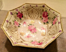 ANTIQUE NIPPON HAND PAINTED OCTAGONAL BOWL ROSES & GOLD MORIAGE