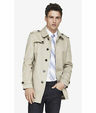 NEW EXPRESS $198 KHAKI MINUS THE LEATHER TRIM TRENCH COAT SZ S SMALL