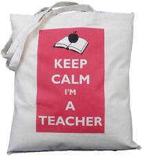 KEEP CALM I'M A TEACHER - NATURAL COTTON SHOULDER BAG - Tote - SCHOOL GIFT