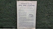 LIONEL # 2025 2020 675 671 726 LOCOMOTIVES INSTRUCTIONS PHOTOCOPY