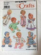 "Baby Doll Clothes Pattern 9144 13-18"" Dress Booties Panties Pajamas Romper Sew"