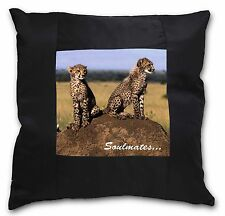 Two Cheetahs 'Soulmates' Black Border Satin Scatter Cushion Christm, SOUL-80-CSB
