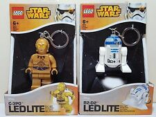 Lego Star Wars Keychain Lot of 2 R2-D2 C-3PO Torch LED LITE Key Light Brand New