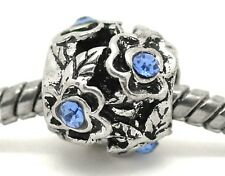Blue Rhinestone March Birthstone Flower Spacer Bead for European Charm Bracelets