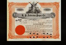 R.P. Andrews Paper Co Northampton MA dd 1943 old stock certificate iss to Chelan