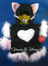BLACK KITTY CAT COSTUME OUTFIT PINK FUR BUILD-A-BEAR TEDDY CLOTHES  NWT