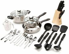 GIBSON COOKWARE KITCHEN SET STAINLESS STEEL POTS and PANS KNIVES TOOLS FLATWARE