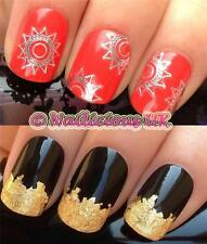 NAIL ART SET #38. SILVER BOHO SUN WATER TRANSFERS/DECALS/STICKERS & GOLD LEAF