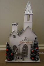 NWT Pottery Barn Kids Light Up Glitter Church Christmas decor village