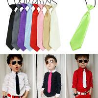 School Boys Kids Children Baby Wedding Party Solid Elastic Satin Ties Neck tie