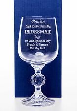 Personalised WEDDING BUTTERFLY Claudia Wine Glass Gift For Bridesmaid/Mum/Bride